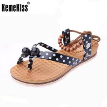 bohemia beading women sandals girl quality clip toe flat sandals brand sweet fashion ladies footwear size 36-40 WC0042
