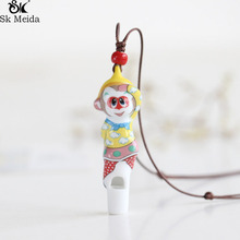 Monkey King Cartoon Ceramic Necklace Children Pendant Traditional Culture Small Ornament Whistle Necklace Accessories WW-22