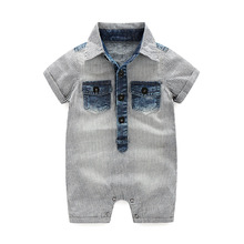 New 2017 Summer Baby Boys Denim Romper Short baby one piece clothing Stiped newborn baby Jumper