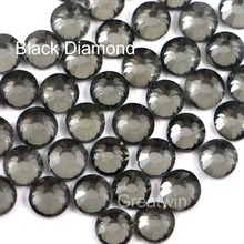 SS16 3.8-4.0mm,1440pcs/Pack  DMC Hot Fix Flatback Loose Rhinestones Hotfix Iron On  Black Diamond Glass Crystals For DIY