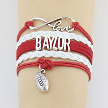 (10 Pieces/Lot) Infinity Love Baylor Bracelets Football Charm Handmade Rope Leather Weave Bangles For Women Men Jewelry Custom(China)