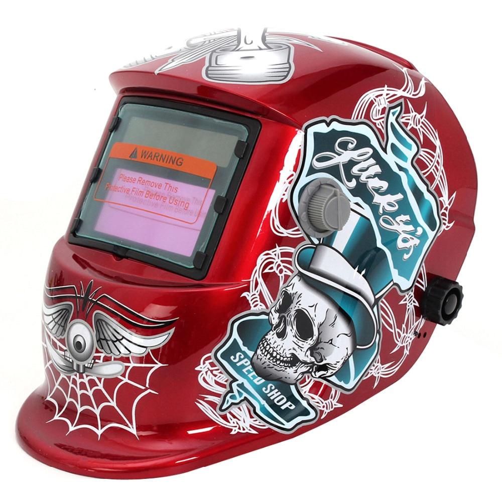 Red Solar Welding Helmet Auto Darkening Standard Design  Electric Grinding Welding Face Mask Welder Cobwebs and Skull<br>