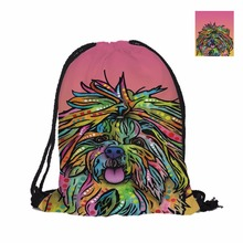 Lovely SHIH TZU Dog Printing For Double Sided Men Women School Bag Travel Drawstring Backpack Polyester Texture