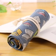48/72 Holes Handmade Canvas Wrap Roll Up Pen Bag Novelty Book Pattern Art Sketch Painting Pencils Case New Semester Gifts