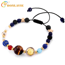 Fashion Universe Galaxy the Eight Planets Solar System Guardian Star Natural Stone Beads Bracelet Bangle for Women Men Gift(China)