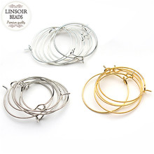 LINSOIR 100pcs/lot Gold/Silver/Rhodium Color Ear Wire Hook 25mm Diameter Earring Hoops Findings For DIY Jewelry Making F2399