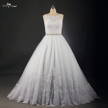 RSW738 Custom Made Vestidos De Novia Illusion Neckline Sexy Backless Bridal Gown Lace Wedding Dresses 2015 In Store Free Veil