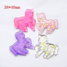 10pcs Mixed For DIY Phone Decoration Hair Craft Glitter unicorn flatback resin cabochon With Sparkle Star(China)