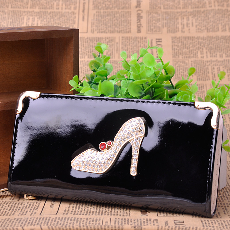 2017 Hot Sale Women Wallet PU Leather Rhinestone High Heels Shoe Long Design Women Wallet Coin Purse Ladies Handbag Clutch Bag<br><br>Aliexpress