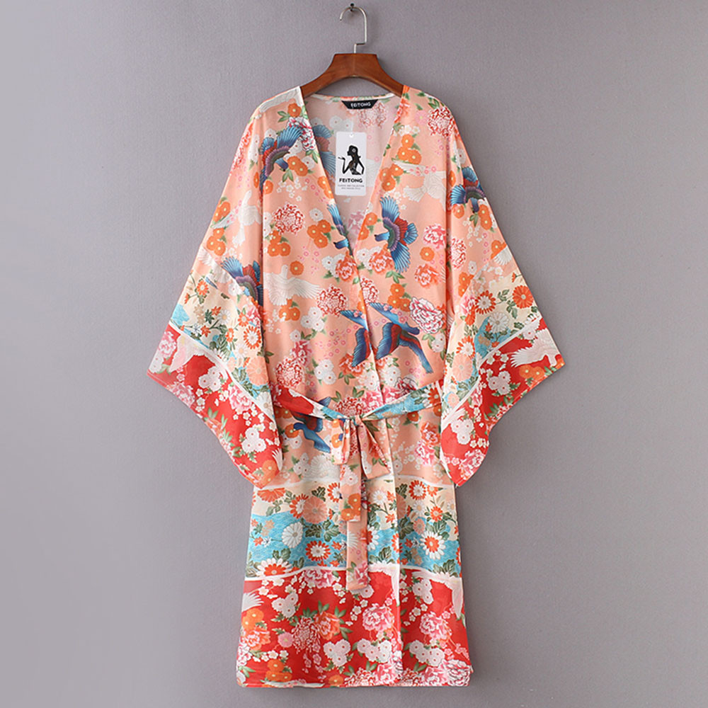 High quality Summer tops Women Chiffon Shawl Kimono Cardigan Top Belt Cover Up Blouse Beachwear Sheer Tops d90403