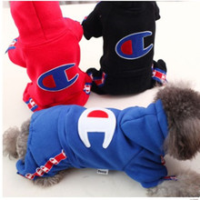 2017 New Dog Hoodies Warm Winter Dog Clothes thicken champion Costume Pet Coat Jacket Autumn Jumpsuit Clothing for Puppy Dogs(China)