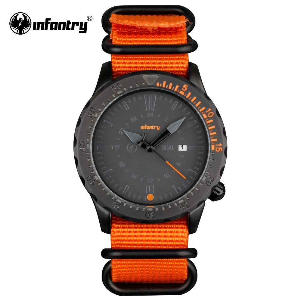 INFANTRY Mens Watches Sports Date Day Quartz Wrist Watch Military  Orange G10 Nylon Strap Aviator Army Watch 2017 Relojes<br><br>Aliexpress