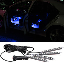 New 4 in 1 12V Car Auto Interior LED Atmosphere Lights Decoration Lamp For toyota peugeot 307 renault opel skoda chevrolet cruze(China)