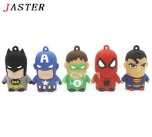 JASTER Cartoon Superman Spiderman Batman Captain America Silicone USB Flash Drive Pen Drive pendrive 4GB 8GB 16GB 32GB