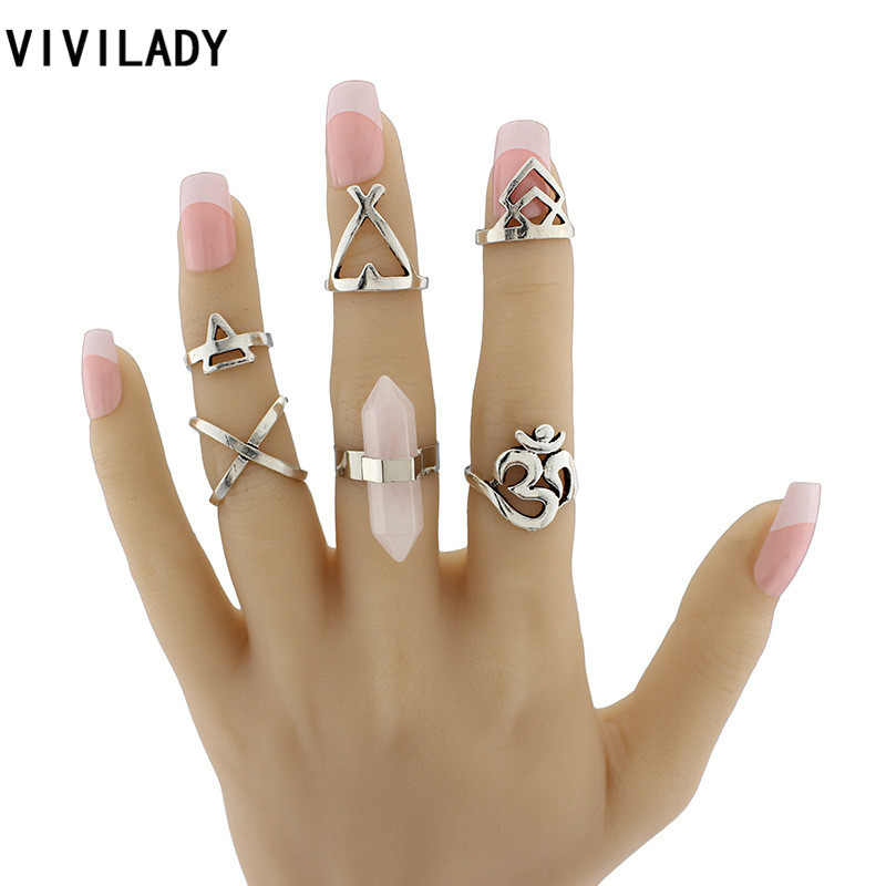 VIVILADY Vintage Ethnic Style 6pcs Om Yoga India Symbol Boho Pink Stones Cross Finger Midi Knuckle Ring Sets Bijoux Female Gifts(China (Mainland))