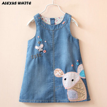 2017 Summer Style Denim Sundress For Girls Cowboy Dress Kids Clothes Brands autumn princess Cartoon Mouse Overalls Jeans Dress(China)