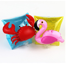 Children 1Pair PVC Pool Swimming Arm Ring Crab Flamingo Inflatable Arm  Floatation Sleeves Water Wings Swimming Arm Floats