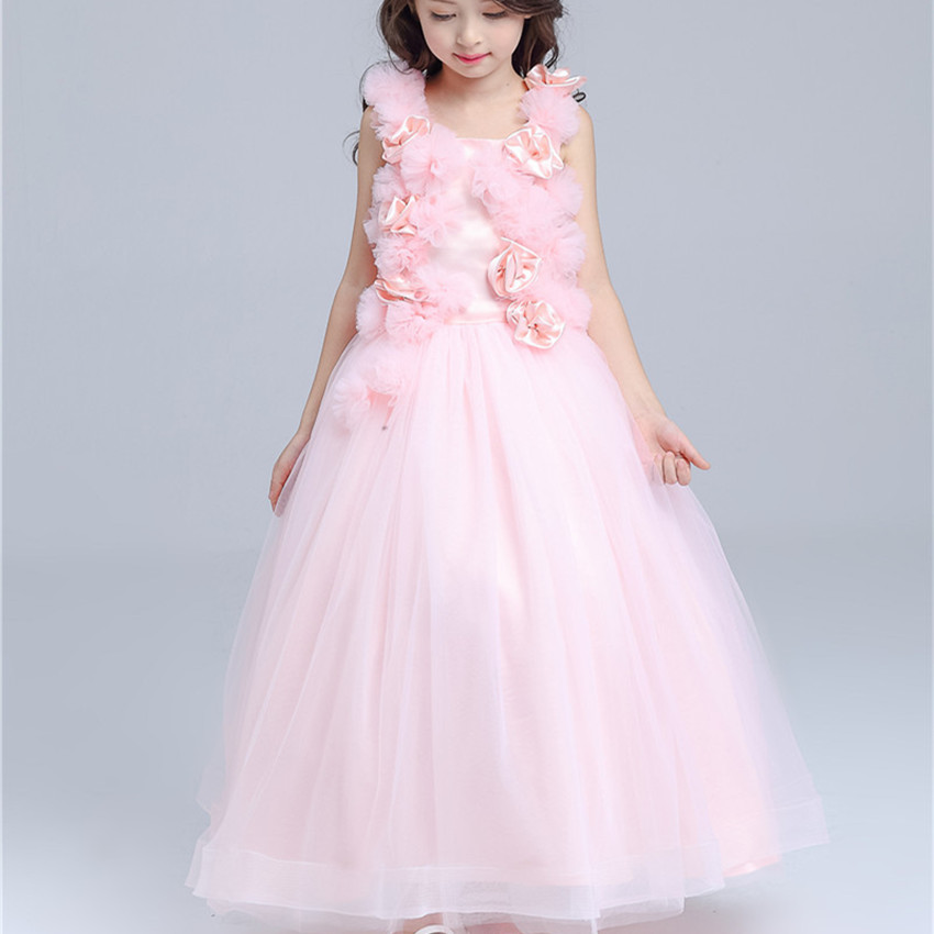 Pink Long Formal Girl Dress Christmas Kids Party Costume For 3 4 6 8 10 12 14 Year Old 2017 Girls Clothes AKF164115<br>