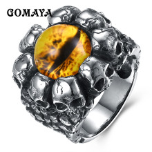GOMAYA Fashion Personality Creativity Stainless Steel Ring Cool Skull Mens Rings Punk Style Unisex Ring Jewelry(China)