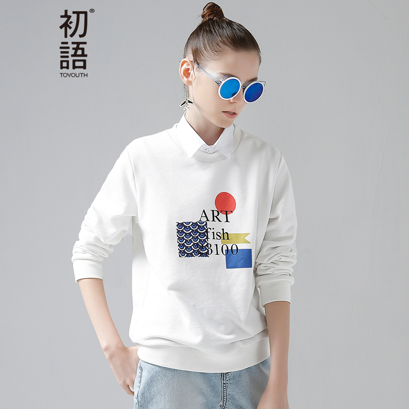 Toyouth Women Basic Sweatshirts 2019 Spring Casual Letter Printed Long Sleeve Female Kawaii Hoodies Pullovers Tops