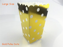 12pcs/lot (Pack of 12) Big Metallic Gold Polka Dots Popcorn Paper Bags Candy Boxes Wedding Kids Birthday Party Supplies