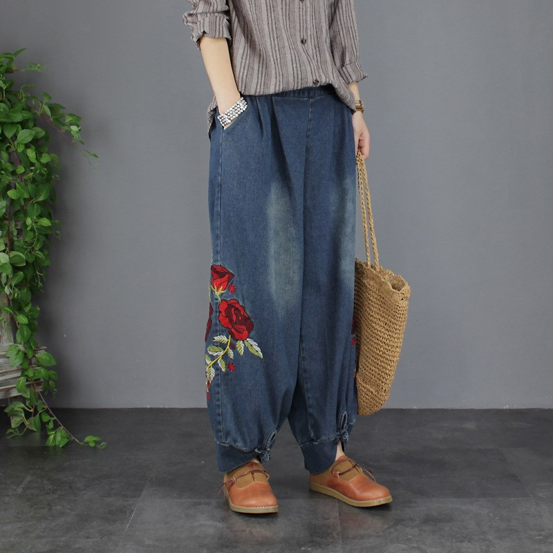 Autumn Jeans Women Loose Embroidery Denim Trousers Harem Pants Pocket Casual Elastic Waist Retro Denim Pants