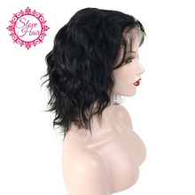 Slove Short Glueless Lace Front Human Hair Wigs With Baby Hair Full End 8'' to 14'' Brazilian Remy Wavy Bob Wigs Bleached Knots