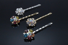 1pc Fashion Rhinestone Hairpins Elegant Barrette Brides Cool Kids Hair Pin Children Bridal Crystal Hair Jewelry Accessories D641