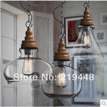 [Designer Lights] Retro Restaurant Bar European and American Style Taipei Rural Countryside Wood Chandeliers Glass Chandelier(China)