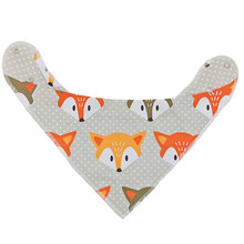 1pc Reusable Cotton Baby Bib Special Design Washable Bandana Bibs Size Adjustable With Metal Snap Baby Meal Bib Infant Bibs(China)