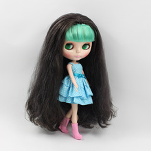 Nude blyth doll little sister bulk B female long hair with green bangs mini dolls for girls DIY bjd dolls for sale