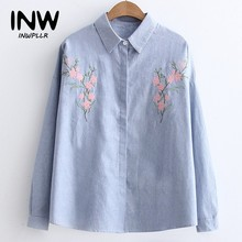 Women Blouses Floral Embroidery Tops Ladies's 2018 Autumn Long Sleeve Striped Shirt Femme Fashion Blusas Camisas Femininas(China)