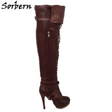 Sorbern Med Thigh High Boots Winter Designer Custom Made Color Personalized  Women Shoes Zipper High Heels Ladies Boots Platform fa49b4dd66dc