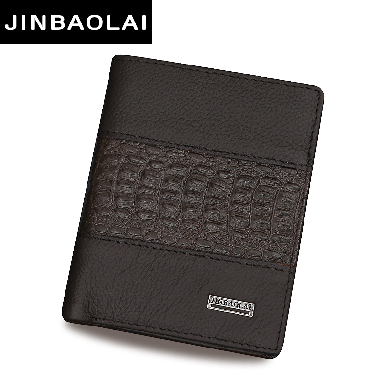 JINBAOLAI Coffee Men Wallets Famous Brand Genuine Leather Male Money Purses New Classic Soild Pattern Designer Soft ID Card Case<br><br>Aliexpress