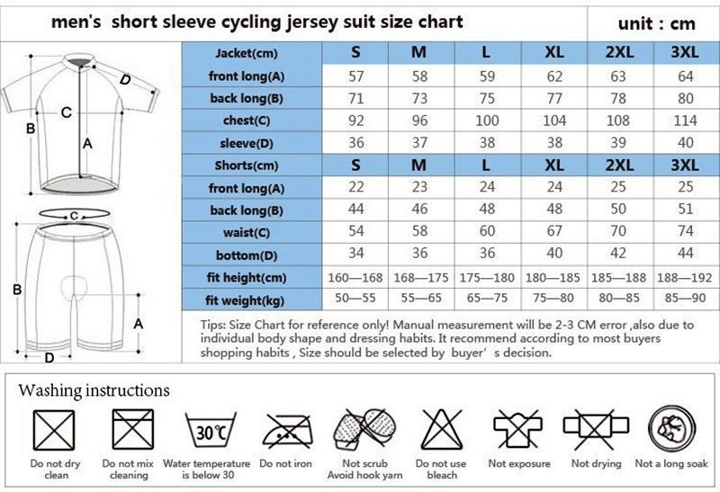 cycling wears size form1