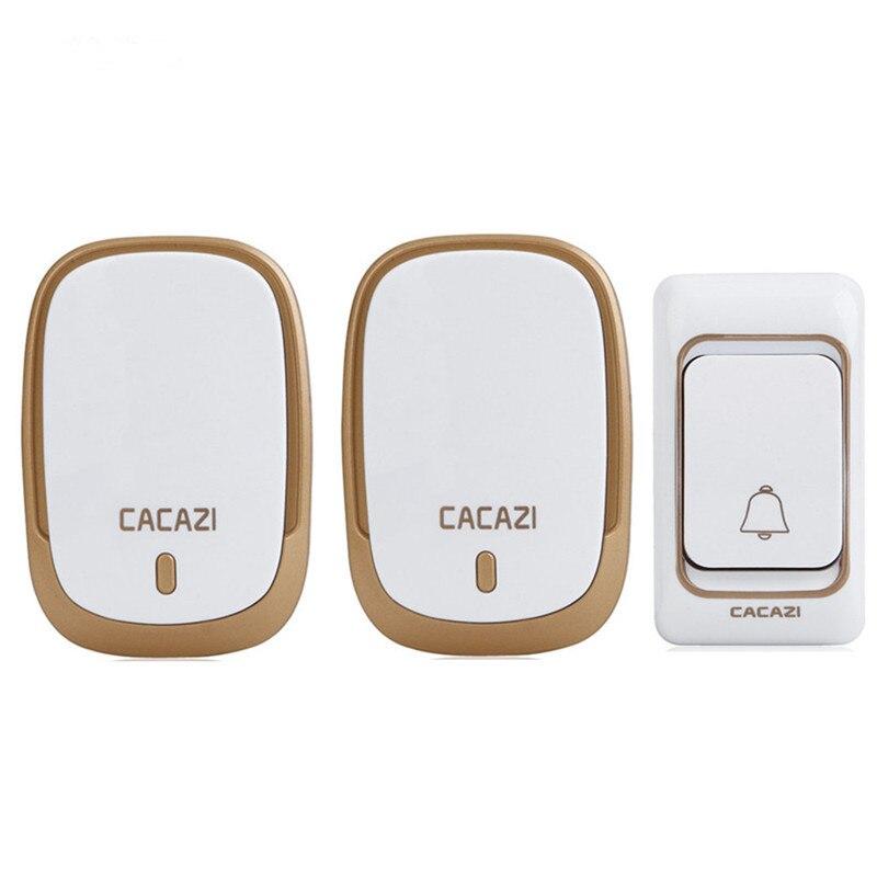 CACAZI Waterproof Doorbell  Plug-in Wireless Door Bell 1 Outdoor ButtonTransmitter + 2 Indoor Doorbell Receiver<br>