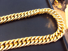 "103g Burly men's 24k solid yellow gold GF Thick necklace chain 23.6""  11 mm wide Unconditional Lifetime Replacement Guarantee"
