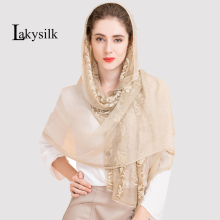 New arrival unique style 100% silk twinkle embroider women scarf Fashion large Long Scarves solid Shawl wrap Female 180x110cm