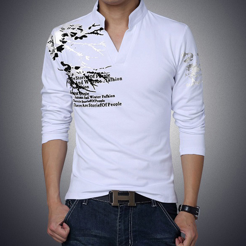 MLT30R 2017 Summer t shirt men Long Sleeve brand T Shirt Men Spring Slim Fit Casual cotton shirt V-Neck shirt men plus size 5XL(China (Mainland))