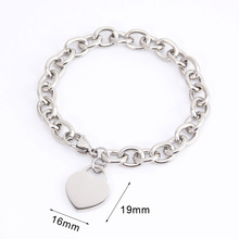 "women bracelet JEWELRY 7.25"" thick heart tag bracelet femme with tags Stainless Steel bangle for couples Chain & Link Bracelets(China)"