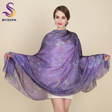 Large Silk Scarf New Design Fashion Accessories Women Purple Stars Long Scarves Wraps 200*110cm Plus Size Autumn Winter Scarves(China)