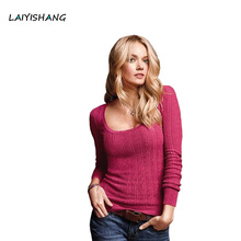 Knitted Sweater 2017 Spring New for Women Elegant deep V and O neck basic Pullovers ladies Sexy Slim long sleeve sweater jumpers(China)