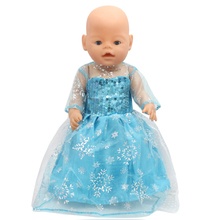 Zapf Baby Born Doll Clothes Elsa Blue Lace Princess Dress Fit 43cm Zapf Baby Born Doll Accessories Girl Gift X-165(China)