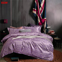 Luxury jacquard bedding set purple duvet cover bed flat sheet queen bedding blue elephant deer bedspead European home textile(China)