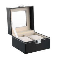 Brand New 1PC 2Grids Black Leather Watch Jewelry Storage Box Exquisite Rangement Display Case Makeup Organizer 11.2x11.2x8.2cm