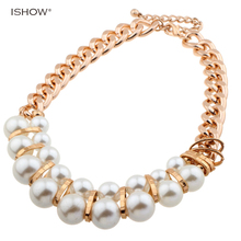 Buy Hot selling Pearl necklace gold chain necklace collares mujer necklace collier ethnique choker necklace woman jewelry for $7.48 in AliExpress store