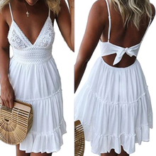 Buy Girls White Summer Dress Spaghetti Strap Bow Dresses Sexy Women V-neck Sleeveless Beach Backless Lace Patchwork Dress GV463 for $13.15 in AliExpress store