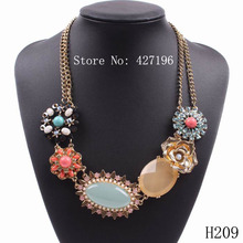 Autumn Design 2017 New Fashion Brand Gold Color Chain Resin Flower Elegant Necklaces For Young Girls