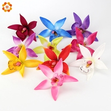 10PCS 10CM Silk Gradient Orchid Artificial Flowers Head For Wedding Party Decoration DIY Wreath Gift Scrapbooking Fake Flower