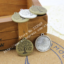 (20 pcs/lot) Antique Bronze Metal Alloy Cameo Peace Tree 20mm Round Cabochon Settings Jewelry Pendant Blanks Charms T0040(China)